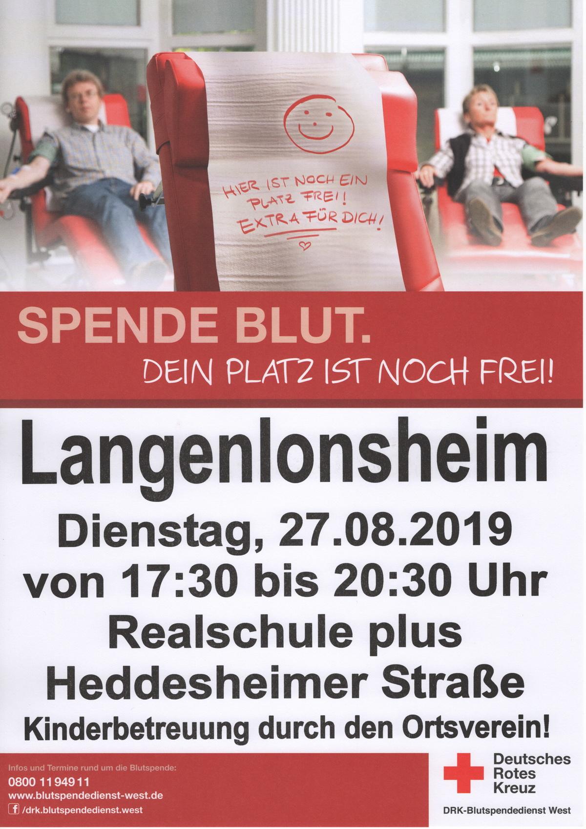 Nächster Blutspendetermin in Langenlonsheim am 27.8.2019 von 17.30 - 20.30 Uhr